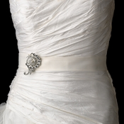 Bridal Belt Sash with Antique Crystal Swirl Brooch 114