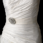 Wedding Sash Bridal Belt with Vintage Crystal Accent Brooch 13