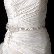 Silver White Vintage Satin Ribbon with Feather Accent Belt or Headpiece 1532