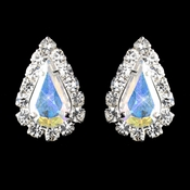 Silver AB Teardrop Stud Earrings 1361