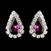 Silver Amethyst & Clear Teardrop Stud Earrings 1361