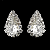 Silver AB & Clear Teardrop Stud Earrings 1361
