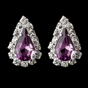 Silver Light Amethyst & Clear Teardrop Stud Earrings 1361