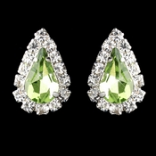 Silver Peridot & Clear Teardrop Stud Earrings 1361