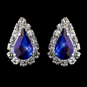 Silver Sapphire & Clear Teardrop Stud Earrings 1361