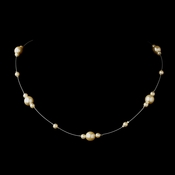 Silver Ivory Pearl Illusion Necklace 8601