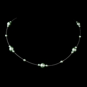 Silver Peridot Pearl Illusion Necklace 8601