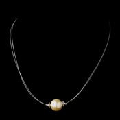 Silver Ivory Czech Glass Pearl & Bali Bead Illusion Necklace 8662