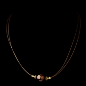 Gold  Brown Czech Glass Pearl & Bali Bead Illusion Necklace 8662