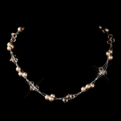 Silver Pink Czech Glass Pearl & Swarovski Crystal Bead Multiweave Illusion Necklace 8672