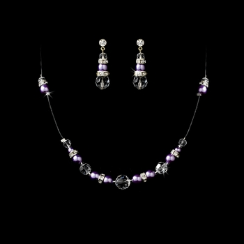 * Necklace Earring Set 230 Periwinkle Clear