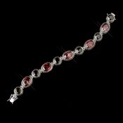 Silver Black & Red CZ Crystal Bracelet 8936