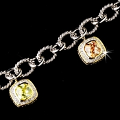 Silver Multi Color CZ Crystal with Gold Trim Bracelet 2704