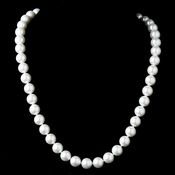 Elegant Silver Diamond White Pearl Necklace N 8971