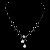 Antique Rhodium Silver Clear CZ Crystal & Diamond White Pearl Drop Necklace 3870