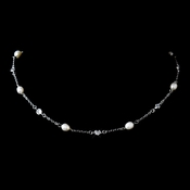 Antique Rhodium Silver Clear CZ & Freshwater Pearl Necklace 8573