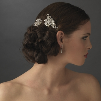 antique silver flower bridal hair b with pearl rhinestone accents