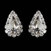 Silver Smoked & Clear Teardrop Stud Earrings 1361