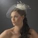 Russian Bridal Bird Cage Veiling Bridal Hat with Swarovski Crystal & Feather Accents - Clip 8366 with Brooch Pin