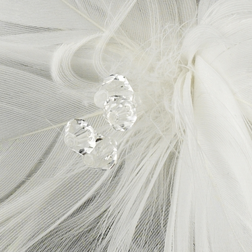 * Feather Fascinator with Swarovski crystals & Veil Accent Bridal Hair Pin 123