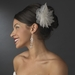 Silver Freshwater Pearl Flower Feather Fascinator Comb 1535