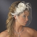 * Beautiful Feather Fascinator and Birdcage Face Veil Comb in White or Ivory 755