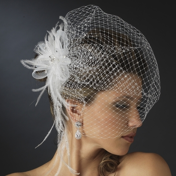 * Jeweled Feather Fascinator V Cage 3631 w/ Russian Veil