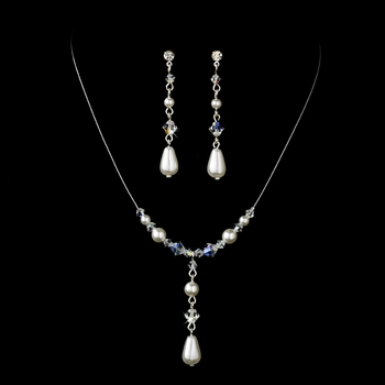 Delightful Silver White Pearl & AB Crystal Bead Necklace & Earring Set 8154