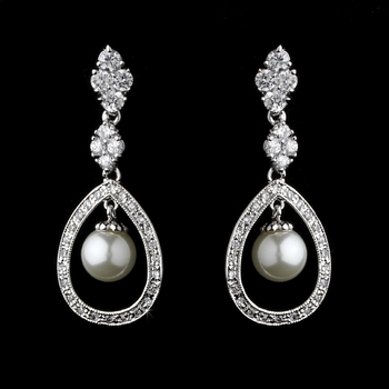 Charming Silver Clear CZ & White Pearl Earrings 8248