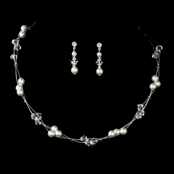 Darling Silver White Pearl & Clear Crystal Bead Necklace & Earring Set 8149