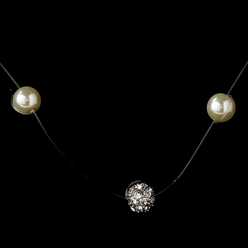 Necklace Earring Set 8213 Silver Ivory
