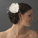 * Lovely White Flower Hair Clip w/ Feathers & Clear Rhinestones 8387