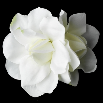 realistic looking diamond white twin gardenia flower hair clip clip 410