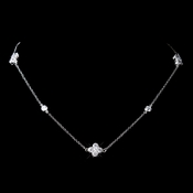 Antique Rhodium Silver Clear CZ Crystal Clover Chain Necklace 8569
