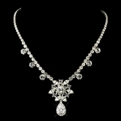 "Silver Clear ""Kim Kardashian"" Inspired CZ Crystal Necklace 1538"