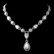 Stunning Antique Silver Clear CZ Crystal Necklace 8974