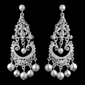 Elegant White Pearl & Crystal Chandelier Earrings 963