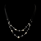 Silver White Glass Pearl, Czech Glass Bead & Swarovski Crystal Bead Illusion Necklace 8607