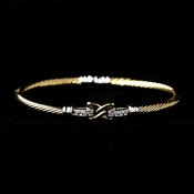 Gold Clear CZ Crystal Hug Cable Bangle Bracelet 8875