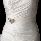 Wedding Sash Bridal Belt with Silver Crystal Butterfly Accent Brooch 111