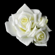 * Classic Diamond White Pointed Garden Rose Flower Hair Clip 513
