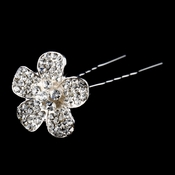 Silver Clear Rhinestone Flower Pin 71014 *5 left*