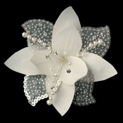 Flower Fascinator with Pearl & Swarovski Crystal Bead Hair Clip 779