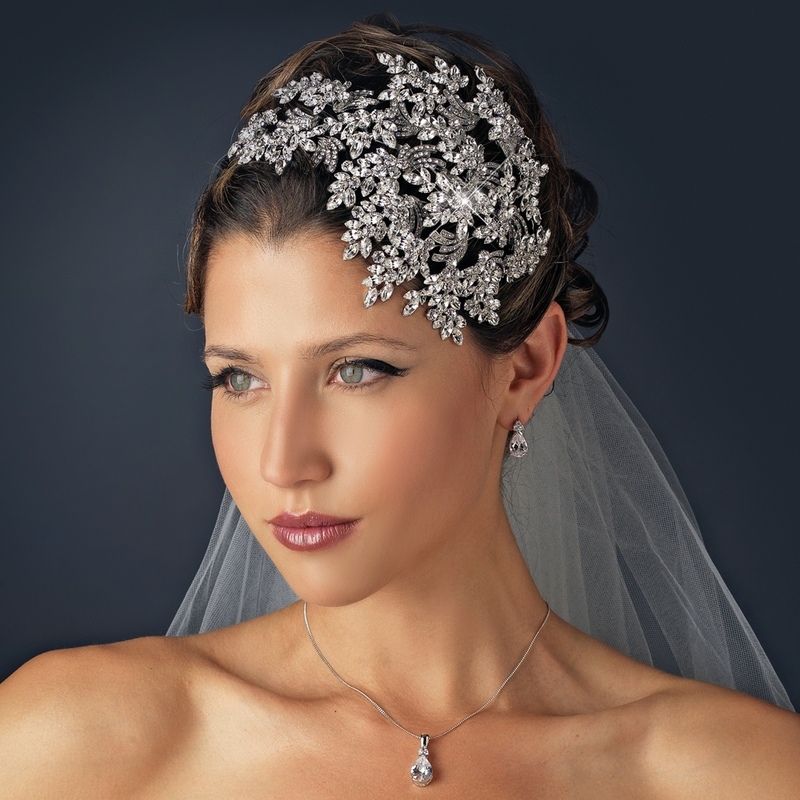 Vintage Couture Leaves Side Accented Crystal Bridal