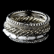 Silver & White Rhinestone 6 Piece Bangle Bracelet Set 8869