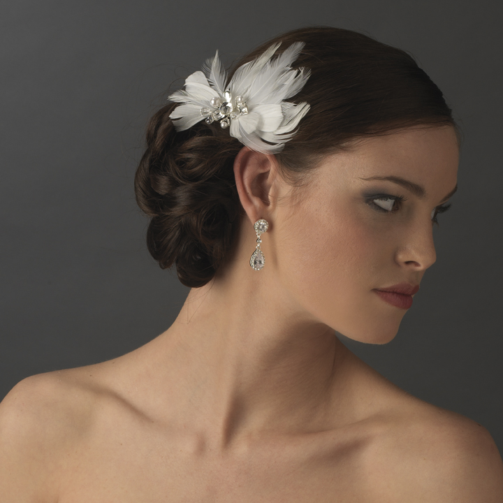 Elegant White Feather Hair Clip Adorn In Pearls Crystals
