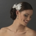 * Elegant White Feather Hair Clip Adorn in Pearls Crystals & Rhinestones - Clip 8402