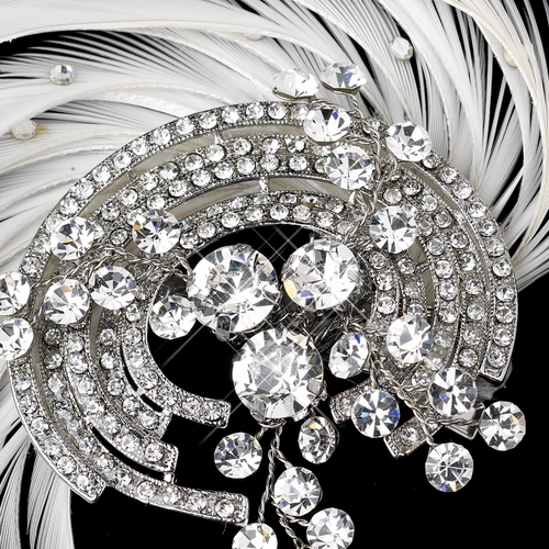 Antique Silver Rhodium Crystal & Ivory Feather Fascinator Clip 9938