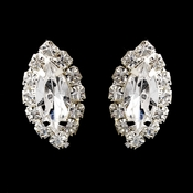Silver Clear Marquise Rhinestone Stud Earrings 0784