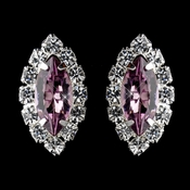 Silver Light Amethyst & Clear Marquise Rhinestone Stud Earrings 0784